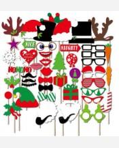 Фотобутафория НОВОГОДНЯЯ тематика, 50 предметов (елочки, снежинки, очки, шапки, подарки и др). 9046169