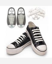 Шнурки силиконовые набор 8+8 шт для пары обуви. Цвет белый 9046260