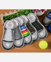 Шнурки силиконовые набор 8+8 шт для пары обуви. Цвет черный 9046259