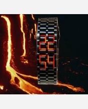 "LED-часы ""Самурай"" Черный браслет, красные диоды 903457"