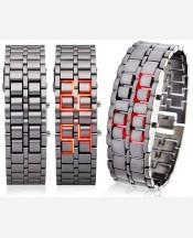 "LED-часы ""Самурай"" Серебристый браслет, красные диоды 903428"