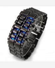 """LED часы-браслет """"Самурай"""". Черный браслет, синие диоды. 903362"""