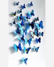 """Наклейки набор """"Бабочки объемные"""" 12 шт. Цвет синий. 904624"""