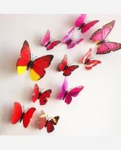 """Наклейки набор """"Бабочки объемные"""" 12 шт. Цвет красный 904654"""