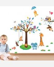 """Наклейка интерьерная """"Звери на дереве и лужайке, мишка на зонте и кенгуру на качелях"""" 904716"""