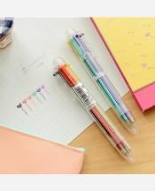 Ручка шариковая, шести цветная 6 в 1. Прозрачный корпус 9046018