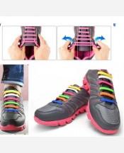 Шнурки силиконовые набор 8+8 шт для пары обуви. Разноцветные 9046273